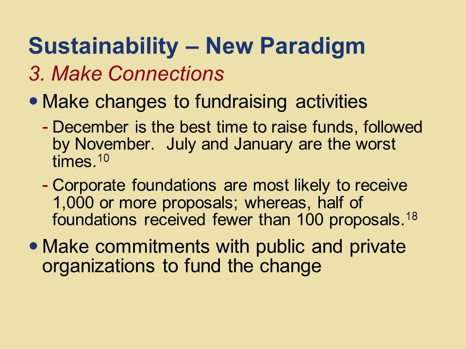 Sustainability – New Paradigm Make new ways to give, continued - Donors who give online tend to give more than those who do not.