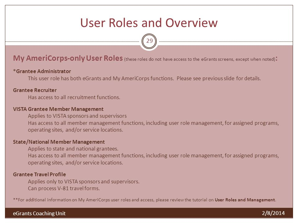 User Roles and Overview 2/8/2014 29 My AmeriCorps-only User Roles (these roles do not have access to the eGrants screens, except when noted) : *Grantee Administrator This user role has both eGrants and My AmeriCorps functions.