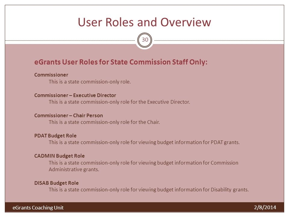 User Roles and Overview 2/8/2014 30 eGrants User Roles for State Commission Staff Only: Commissioner This is a state commission-only role.