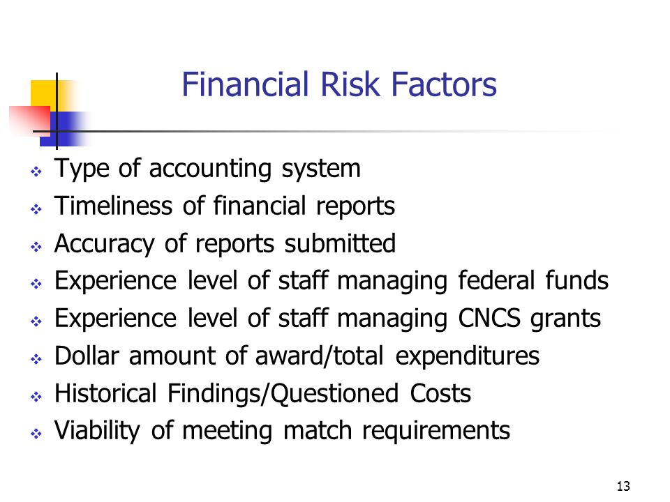 12 Risk Factors Areas to be assessed Financial Administration Member Records Type of grantee/awards Prior audits/reports