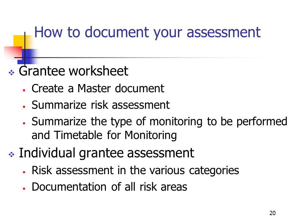 19 Tools & Resources How to document your assessment Risk-Based Monitoring Summary Types of Monitoring Set monitor for each level