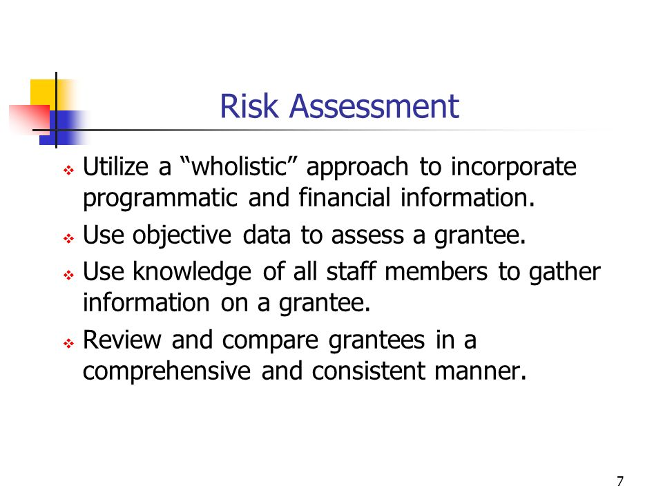 6 Risk Assessment Establish policies and procedures Develop a risk assessment methodology Perform and document risk assessment Reassess the methodology in subsequent years