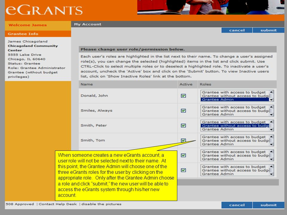 When someone creates a new eGrants account, a user role will not be selected next to their name.