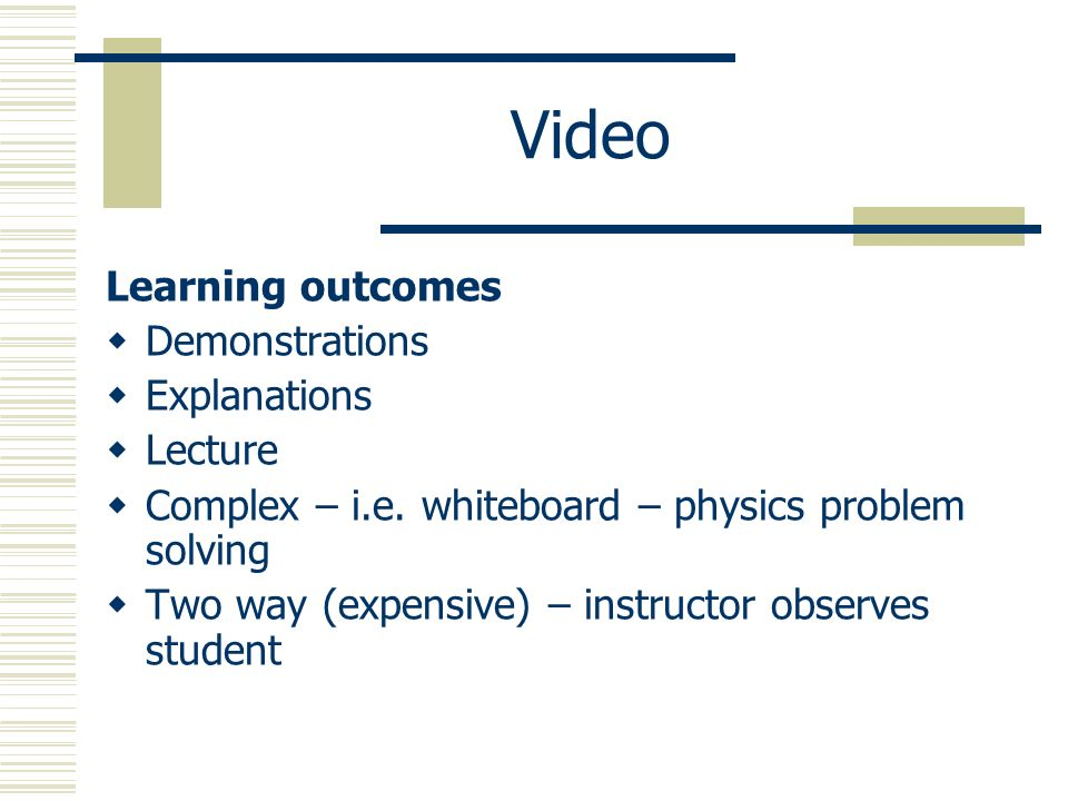 Video Learning outcomes Demonstrations Explanations Lecture Complex – i.e.