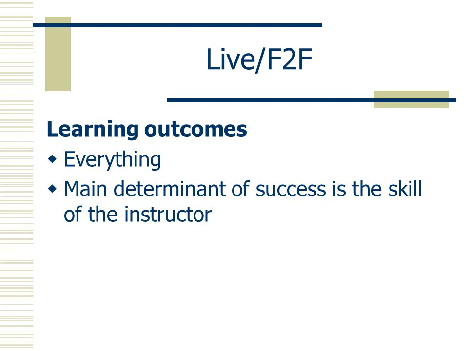 Live/F2F Learning outcomes Everything Main determinant of success is the skill of the instructor