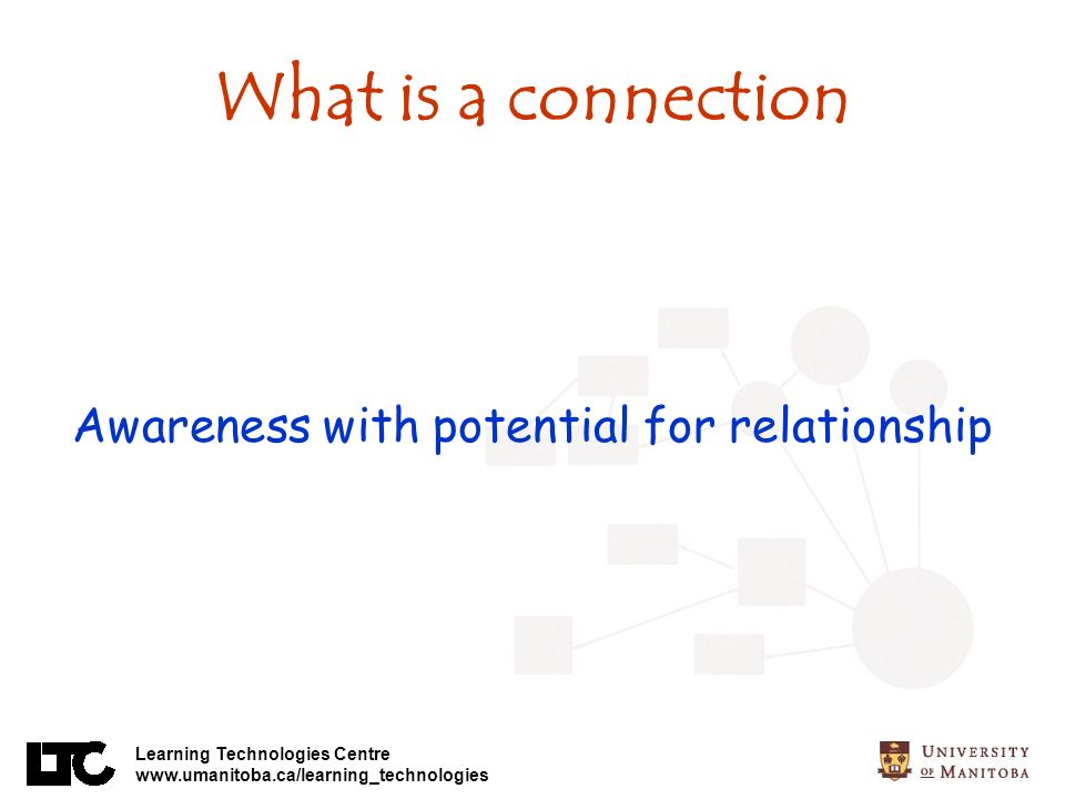 Learning Technologies Centre www.umanitoba.ca/learning_technologies What is a connection Awareness with potential for relationship