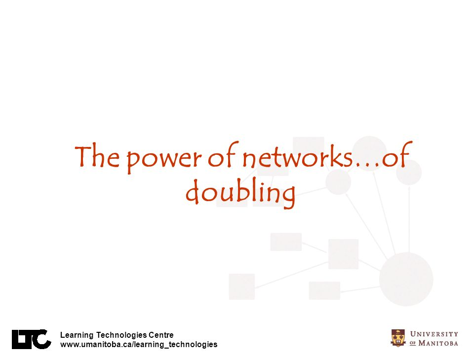 Learning Technologies Centre www.umanitoba.ca/learning_technologies The power of networks…of doubling