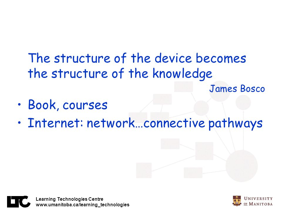 Learning Technologies Centre www.umanitoba.ca/learning_technologies The structure of the device becomes the structure of the knowledge James Bosco Book, courses Internet: network…connective pathways