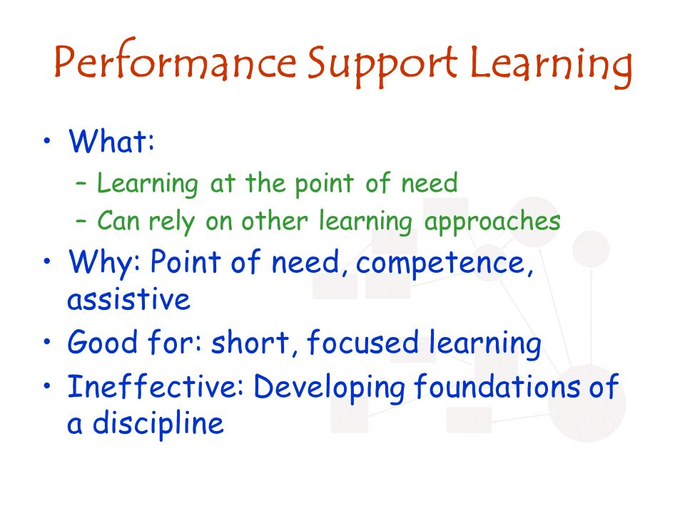 Performance Support Learning What: –Learning at the point of need –Can rely on other learning approaches Why: Point of need, competence, assistive Good for: short, focused learning Ineffective: Developing foundations of a discipline