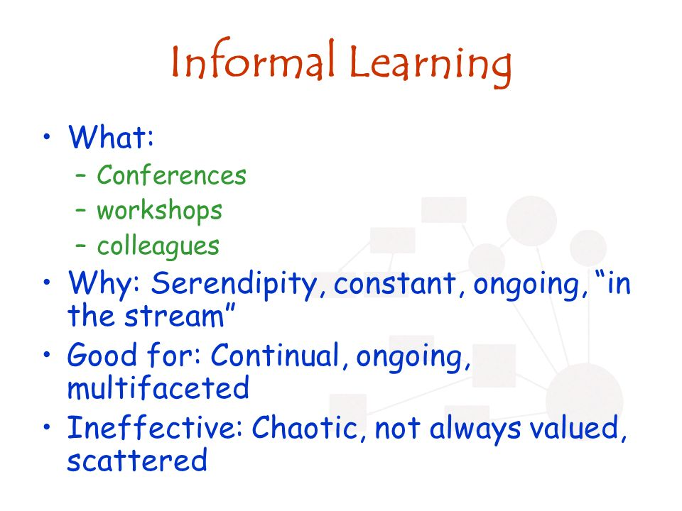 Informal Learning What: –Conferences –workshops –colleagues Why: Serendipity, constant, ongoing, in the stream Good for: Continual, ongoing, multifaceted Ineffective: Chaotic, not always valued, scattered