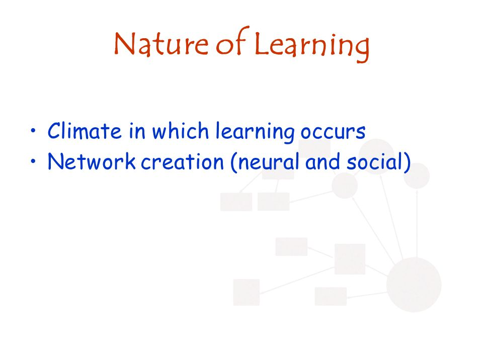 Nature of Learning Climate in which learning occurs Network creation (neural and social)