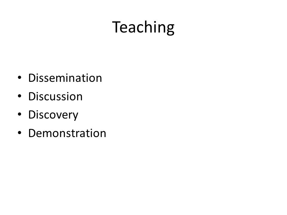 Teaching Dissemination Discussion Discovery Demonstration