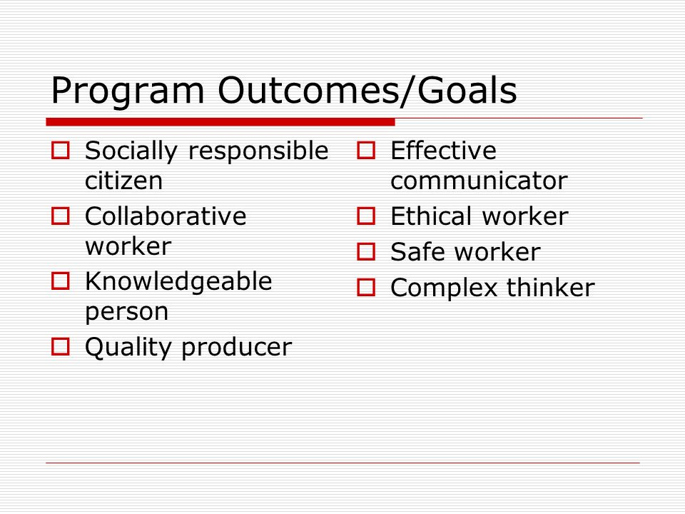 Program Outcomes/Goals Socially responsible citizen Collaborative worker Knowledgeable person Quality producer Effective communicator Ethical worker Safe worker Complex thinker