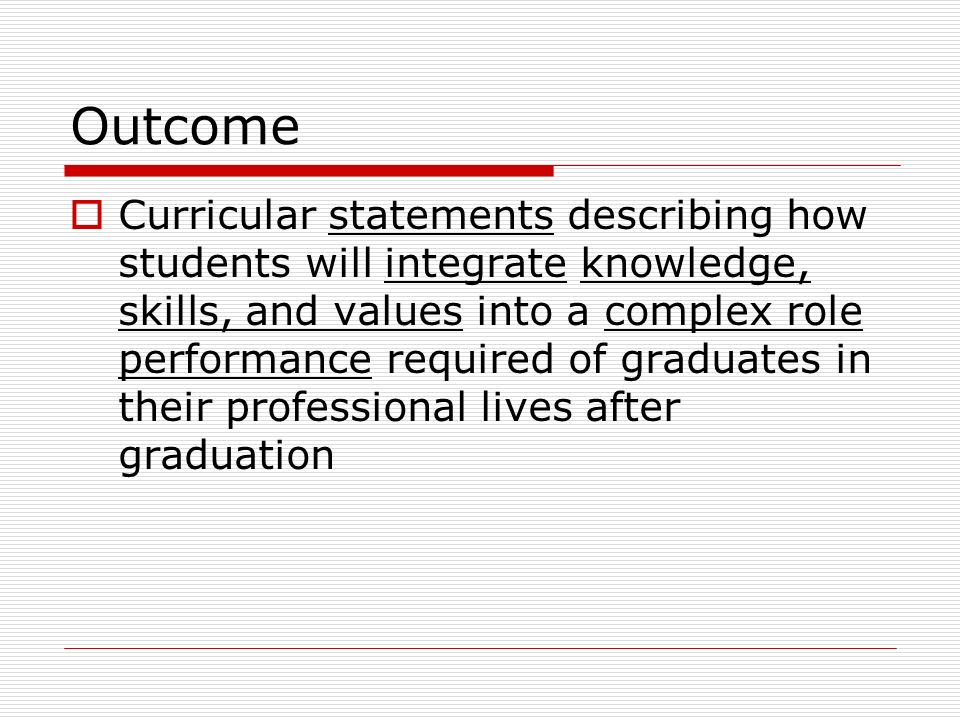 Outcome Curricular statements describing how students will integrate knowledge, skills, and values into a complex role performance required of graduates in their professional lives after graduation