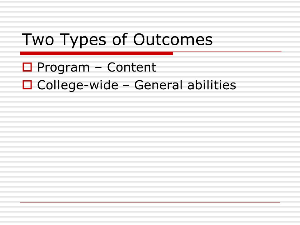 Two Types of Outcomes Program – Content College-wide – General abilities