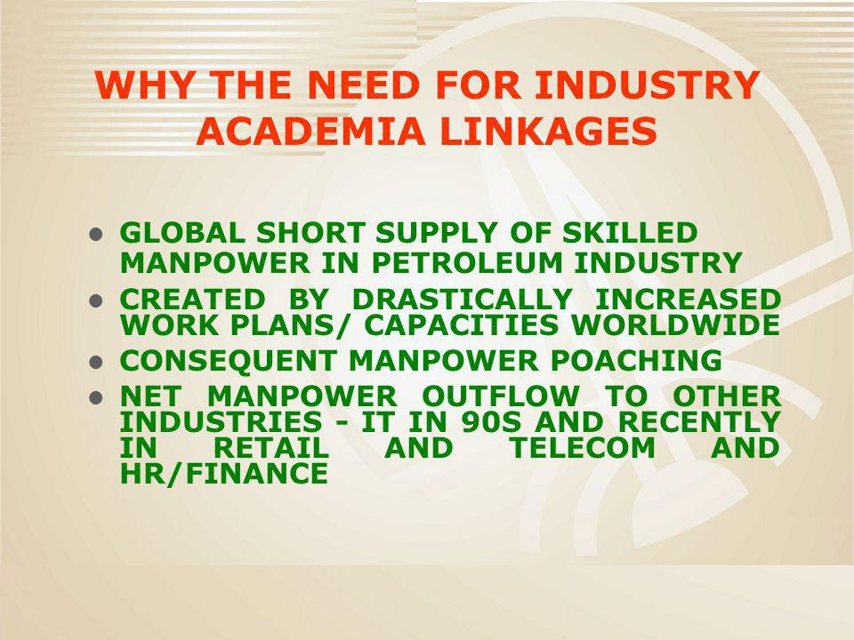 WHY THE NEED FOR INDUSTRY ACADEMIA LINKAGES GLOBAL SHORT SUPPLY OF SKILLED MANPOWER IN PETROLEUM INDUSTRY CREATED BY DRASTICALLY INCREASED WORK PLANS/ CAPACITIES WORLDWIDE CONSEQUENT MANPOWER POACHING NET MANPOWER OUTFLOW TO OTHER INDUSTRIES - IT IN 90S AND RECENTLY IN RETAIL AND TELECOM AND HR/FINANCE