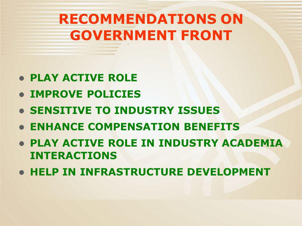RECOMMENDATIONS ON GOVERNMENT FRONT PLAY ACTIVE ROLE IMPROVE POLICIES SENSITIVE TO INDUSTRY ISSUES ENHANCE COMPENSATION BENEFITS PLAY ACTIVE ROLE IN INDUSTRY ACADEMIA INTERACTIONS HELP IN INFRASTRUCTURE DEVELOPMENT