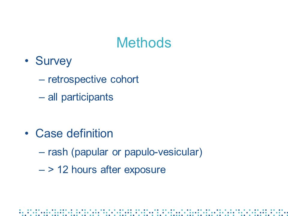 Methods We conducted a retrospective cohort survey including all people attending the visit of the park A case was defined as a papular or papulo-vesicular pruritic rash, among participants, 12 hours or more after the exposure to seawater The Karaoke slide