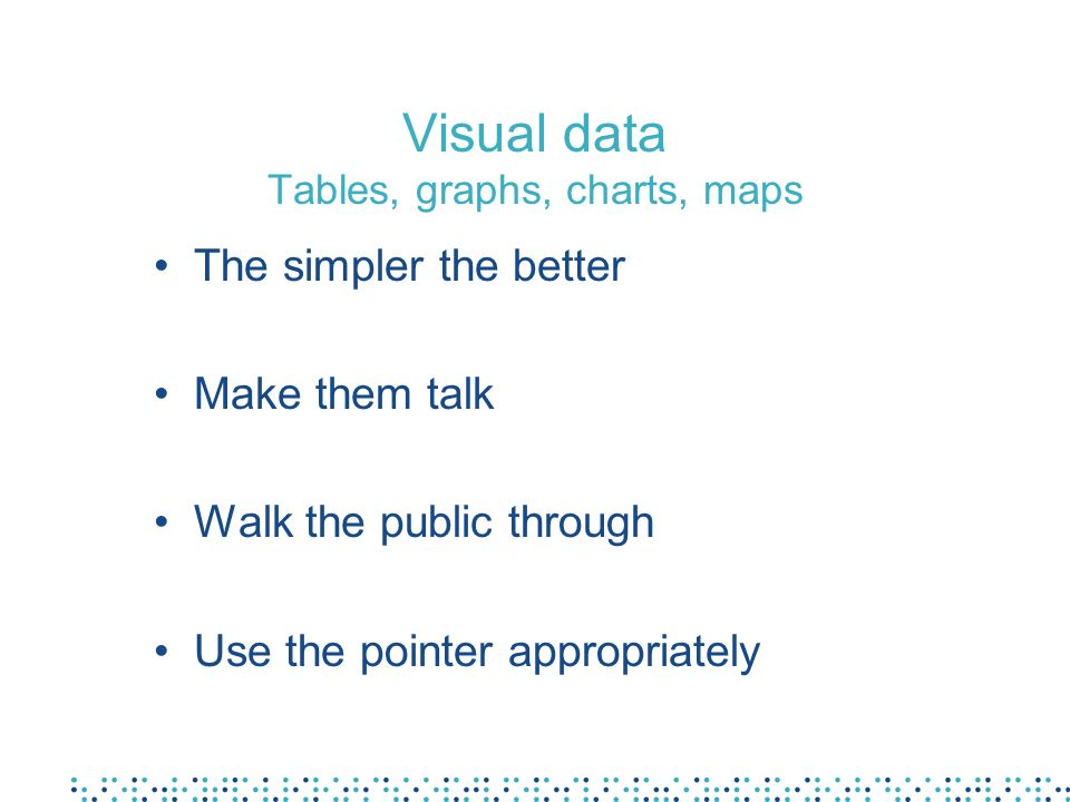Preparation of visual aids Text first, then visual aids The less fancy, the better –Only very careful use of fancy animation and colours in PowerPoint Always related to what you say