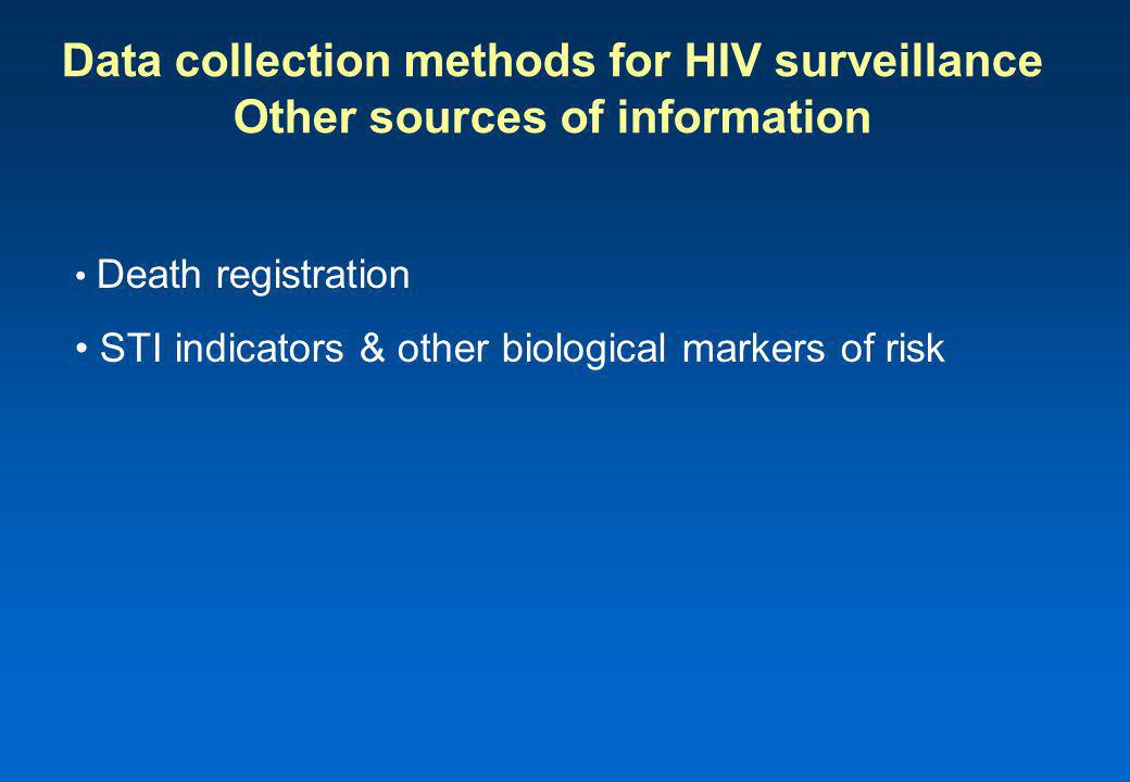 Data collection methods for HIV surveillance Other sources of information Death registration STI indicators & other biological markers of risk