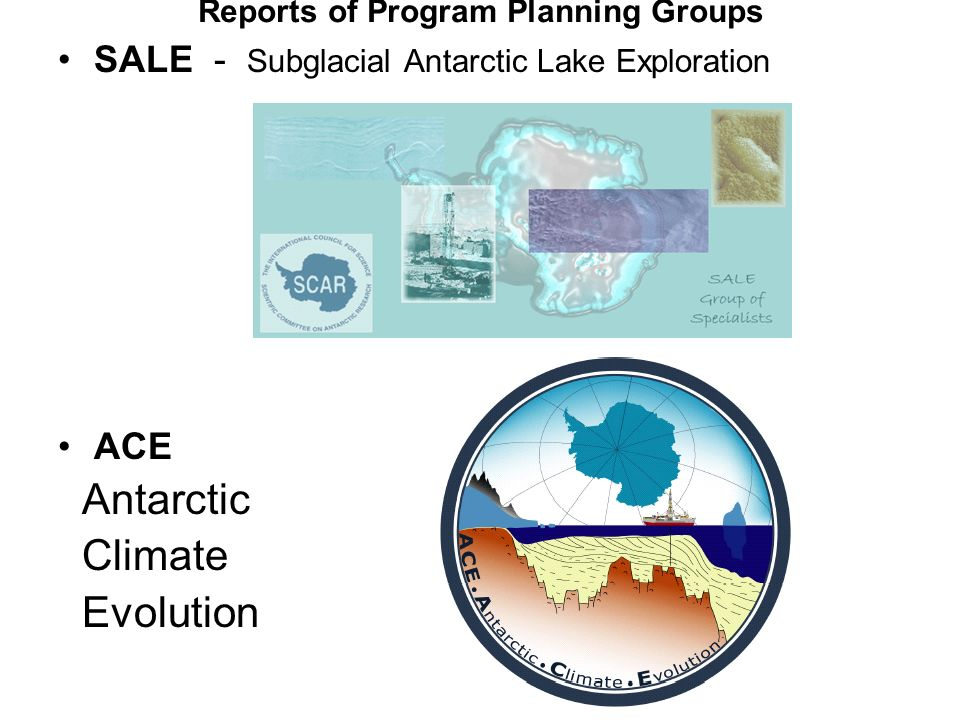 Reports of Program Planning Groups SALE - Subglacial Antarctic Lake Exploration ACE Antarctic Climate Evolution