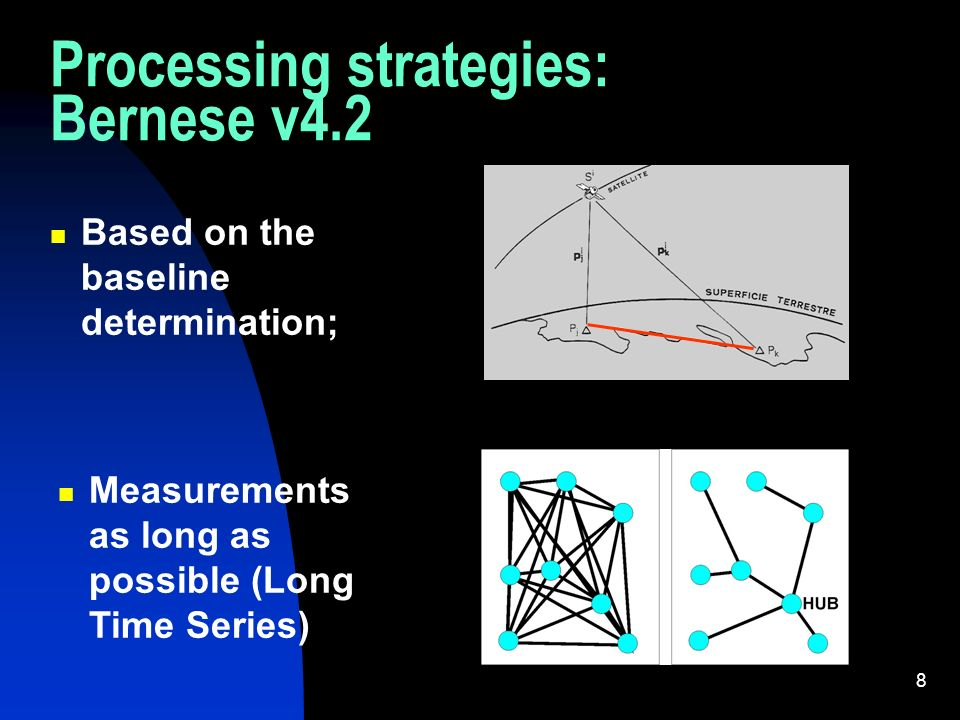 8 Processing strategies: Bernese v4.2 Based on the baseline determination; Measurements as long as possible (Long Time Series)