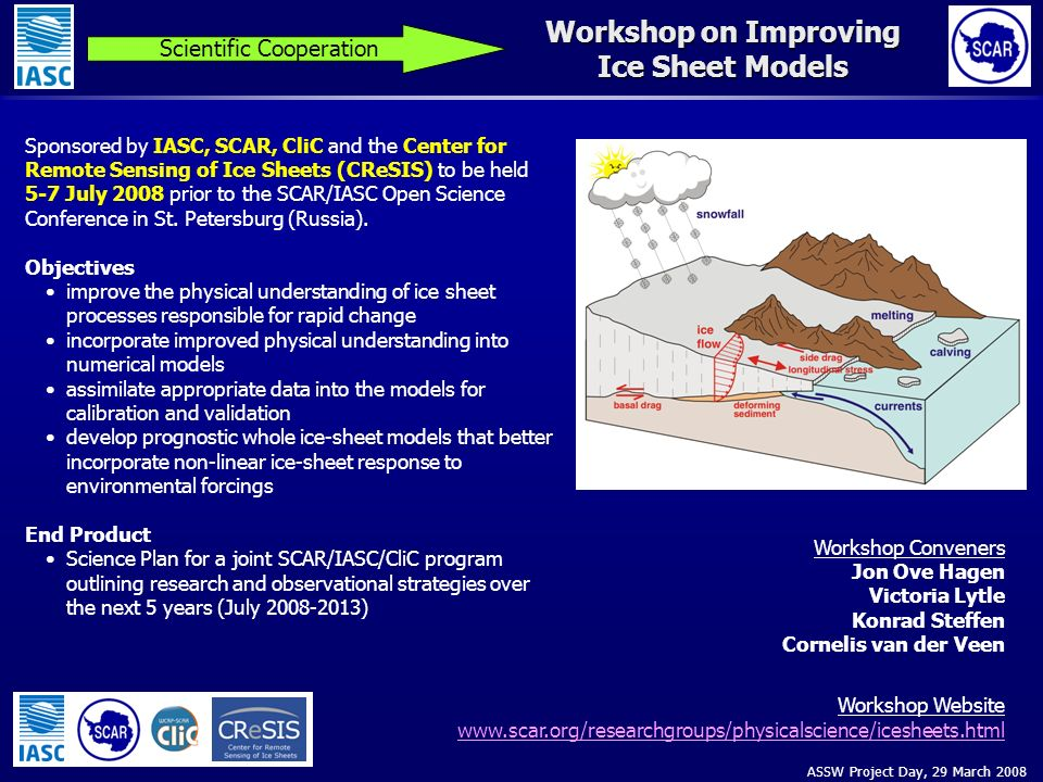 ASSW Project Day, 29 March 2008 Workshop on Improving Ice Sheet Models Scientific Cooperation Sponsored by IASC, SCAR, CliC and the Center for Remote Sensing of Ice Sheets (CReSIS) to be held 5-7 July 2008 prior to the SCAR/IASC Open Science Conference in St.