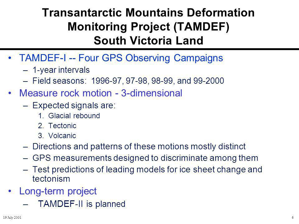 19 July 20016 Transantarctic Mountains Deformation Monitoring Project (TAMDEF) South Victoria Land TAMDEF-I -- Four GPS Observing Campaigns –1-year intervals –Field seasons: 1996-97, 97-98, 98-99, and 99-2000 Measure rock motion - 3-dimensional –Expected signals are: 1.