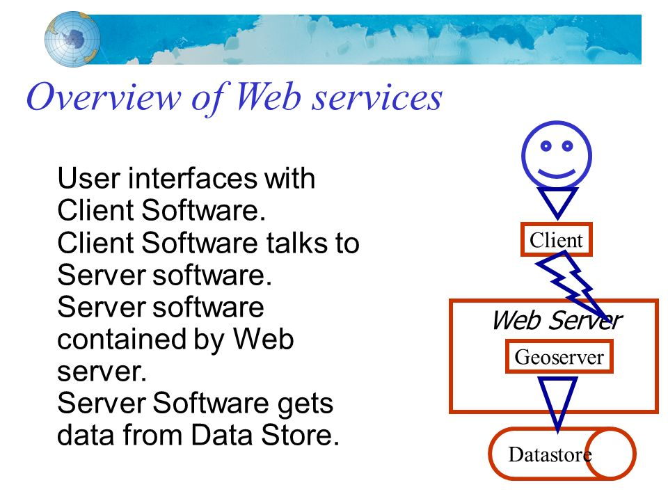 Overview of Web services User interfaces with Client Software.