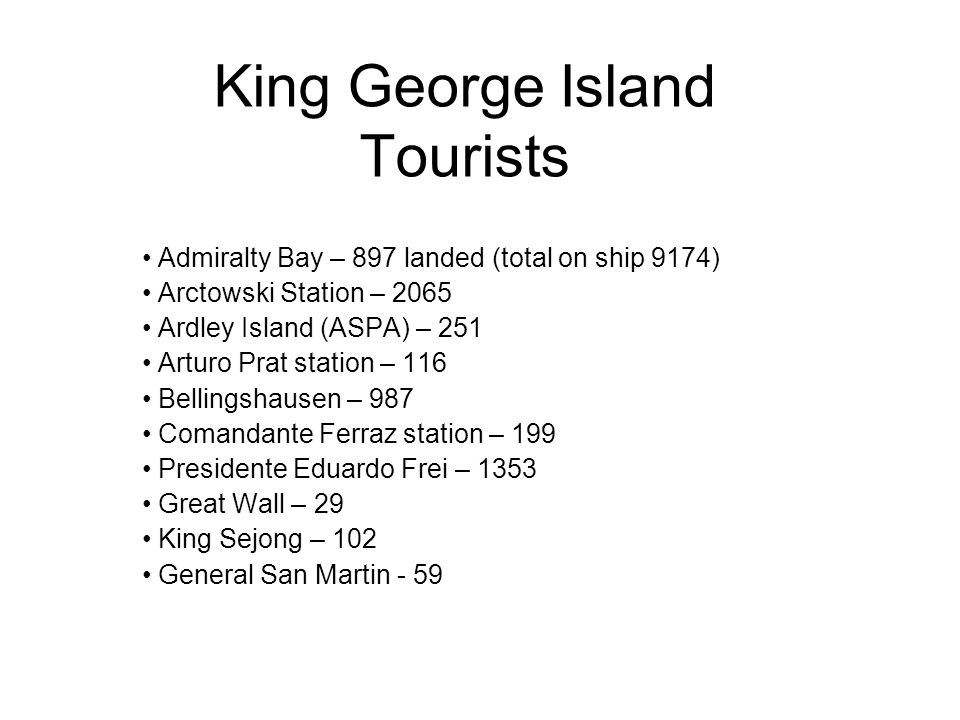 King George Island Tourists Admiralty Bay – 897 landed (total on ship 9174) Arctowski Station – 2065 Ardley Island (ASPA) – 251 Arturo Prat station – 116 Bellingshausen – 987 Comandante Ferraz station – 199 Presidente Eduardo Frei – 1353 Great Wall – 29 King Sejong – 102 General San Martin - 59