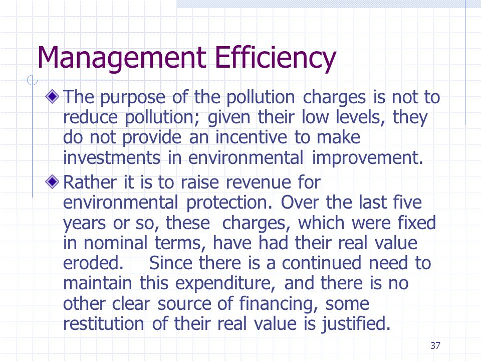 37 Management Efficiency The purpose of the pollution charges is not to reduce pollution; given their low levels, they do not provide an incentive to make investments in environmental improvement.
