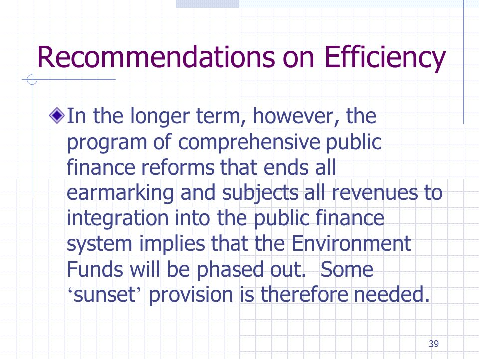 39 Recommendations on Efficiency In the longer term, however, the program of comprehensive public finance reforms that ends all earmarking and subjects all revenues to integration into the public finance system implies that the Environment Funds will be phased out.