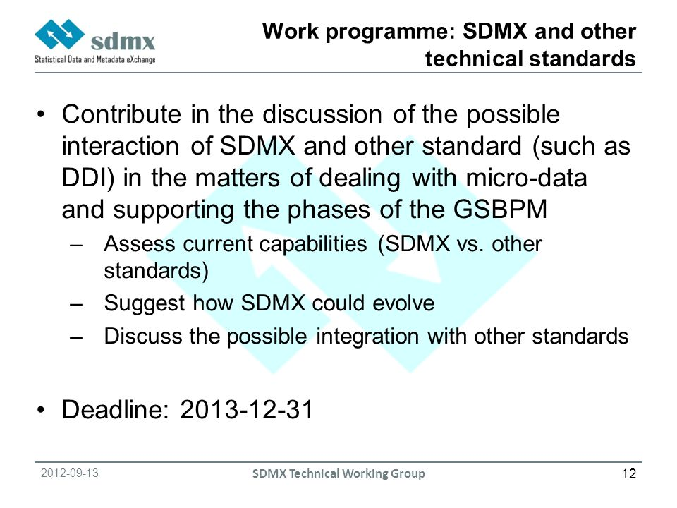 SDMX Technical Working Group Work programme: SDMX and other technical standards Contribute in the discussion of the possible interaction of SDMX and other standard (such as DDI) in the matters of dealing with micro-data and supporting the phases of the GSBPM –Assess current capabilities (SDMX vs.
