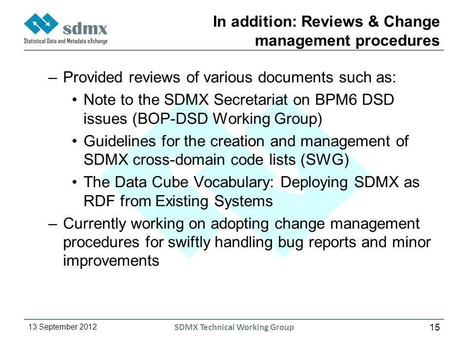 15 13 September 2012 SDMX Technical Working Group In addition: Reviews & Change management procedures –Provided reviews of various documents such as: Note to the SDMX Secretariat on BPM6 DSD issues (BOP-DSD Working Group) Guidelines for the creation and management of SDMX cross-domain code lists (SWG) The Data Cube Vocabulary: Deploying SDMX as RDF from Existing Systems –Currently working on adopting change management procedures for swiftly handling bug reports and minor improvements