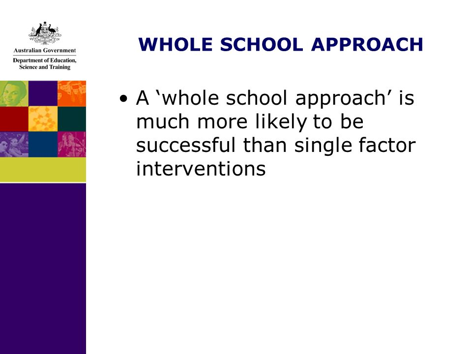 WHOLE SCHOOL APPROACH A whole school approach is much more likely to be successful than single factor interventions
