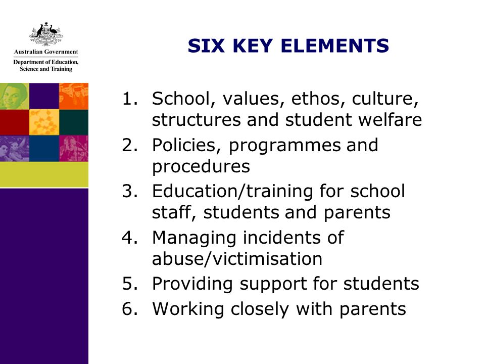SIX KEY ELEMENTS 1.School, values, ethos, culture, structures and student welfare 2.Policies, programmes and procedures 3.Education/training for school staff, students and parents 4.Managing incidents of abuse/victimisation 5.Providing support for students 6.Working closely with parents
