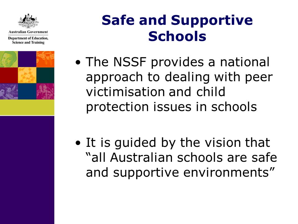 Safe and Supportive Schools The NSSF provides a national approach to dealing with peer victimisation and child protection issues in schools It is guided by the vision that all Australian schools are safe and supportive environments