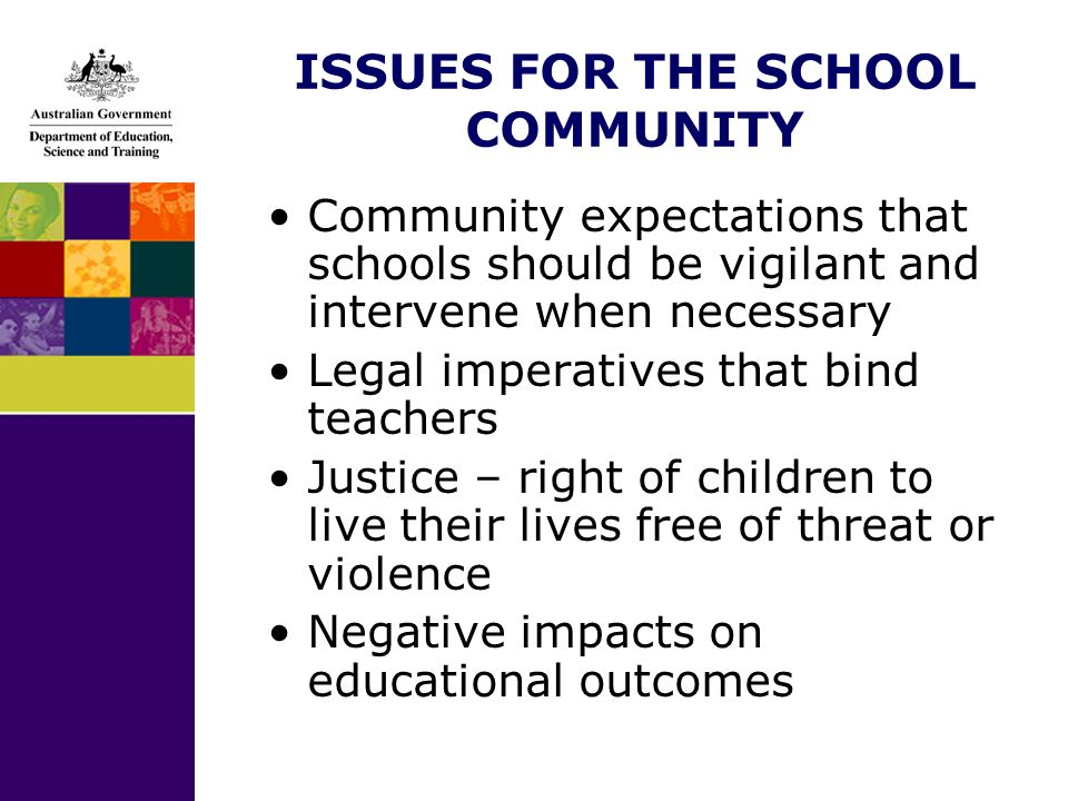 ISSUES FOR THE SCHOOL COMMUNITY Community expectations that schools should be vigilant and intervene when necessary Legal imperatives that bind teachers Justice – right of children to live their lives free of threat or violence Negative impacts on educational outcomes