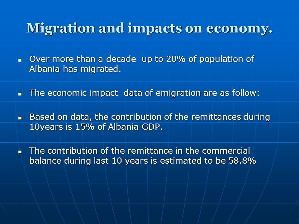 Migration and impacts on economy.