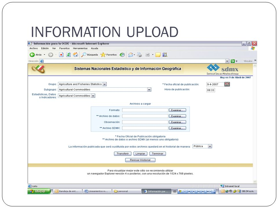INFORMATION UPLOAD