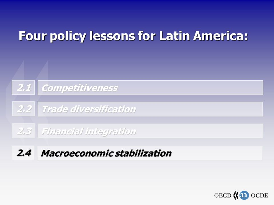 33 Four policy lessons for Latin America: 2.1 Competitiveness Trade diversification 2.2 Financial integration 2.3 Macroeconomic stabilization 2.4