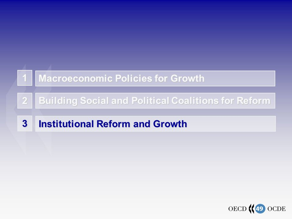 49 3 Institutional Reform and Growth Building Social and Political Coalitions for Reform 2 Macroeconomic Policies for Growth 1