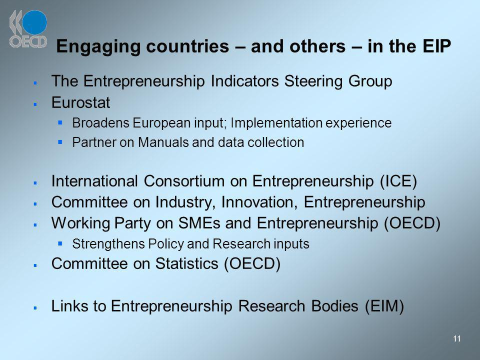 11 Engaging countries – and others – in the EIP The Entrepreneurship Indicators Steering Group Eurostat Broadens European input; Implementation experience Partner on Manuals and data collection International Consortium on Entrepreneurship (ICE) Committee on Industry, Innovation, Entrepreneurship Working Party on SMEs and Entrepreneurship (OECD) Strengthens Policy and Research inputs Committee on Statistics (OECD) Links to Entrepreneurship Research Bodies (EIM)