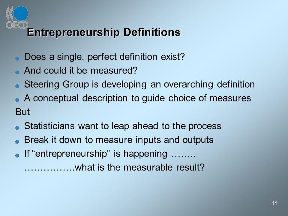 14 Entrepreneurship Definitions Does a single, perfect definition exist.