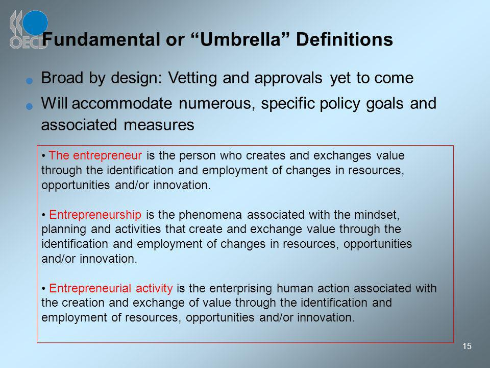15 Fundamental or Umbrella Definitions The entrepreneur is the person who creates and exchanges value through the identification and employment of changes in resources, opportunities and/or innovation.