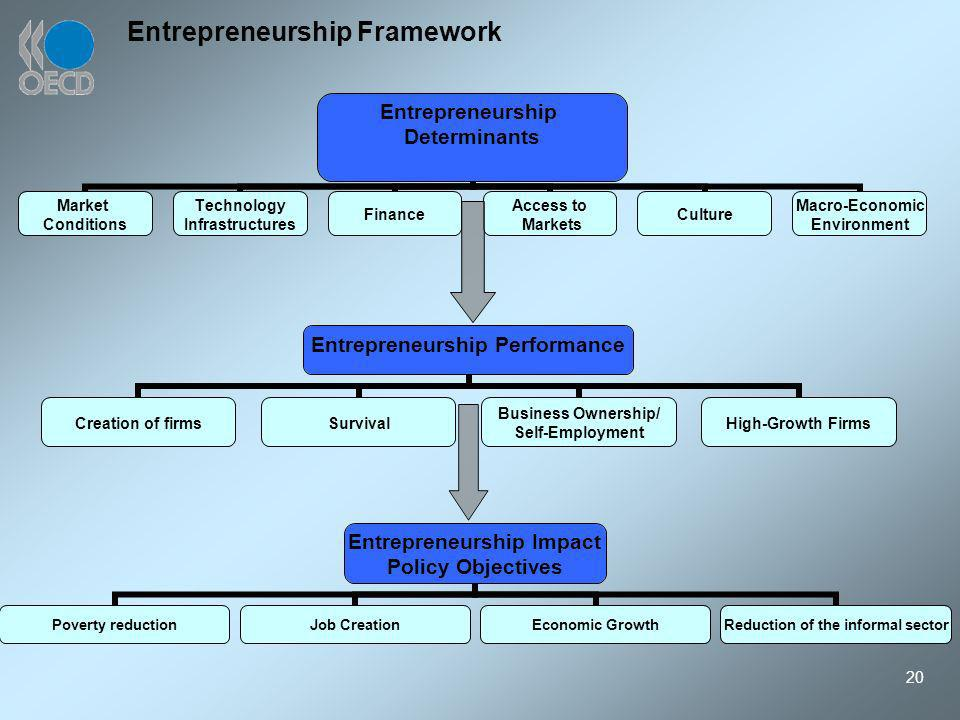 20 Entrepreneurship Framework Entrepreneurship Determinants Market Conditions Technology Infrastructures Finance Access to Markets Culture Macro-Economic Environment Entrepreneurship Impact Policy Objectives Poverty reduction Job Creation Economic Growth Reduction of the informal sector