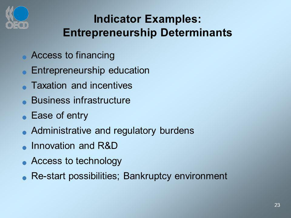23 Indicator Examples: Entrepreneurship Determinants Access to financing Entrepreneurship education Taxation and incentives Business infrastructure Ease of entry Administrative and regulatory burdens Innovation and R&D Access to technology Re-start possibilities; Bankruptcy environment