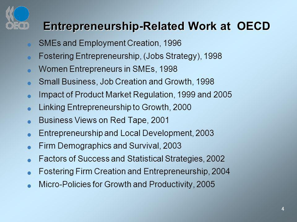 4 Entrepreneurship-Related Work at OECD SMEs and Employment Creation, 1996 Fostering Entrepreneurship, (Jobs Strategy), 1998 Women Entrepreneurs in SMEs, 1998 Small Business, Job Creation and Growth, 1998 Impact of Product Market Regulation, 1999 and 2005 Linking Entrepreneurship to Growth, 2000 Business Views on Red Tape, 2001 Entrepreneurship and Local Development, 2003 Firm Demographics and Survival, 2003 Factors of Success and Statistical Strategies, 2002 Fostering Firm Creation and Entrepreneurship, 2004 Micro-Policies for Growth and Productivity, 2005