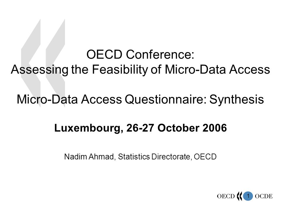 1 OECD Conference: Assessing the Feasibility of Micro-Data Access Micro-Data Access Questionnaire: Synthesis Luxembourg, 26-27 October 2006 Nadim Ahmad, Statistics Directorate, OECD