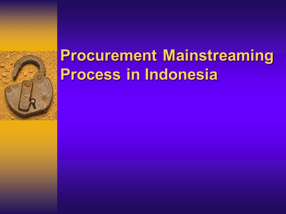 Procurement Mainstreaming Process in Indonesia